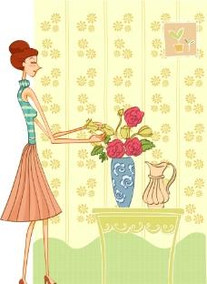 居家女人插花图片