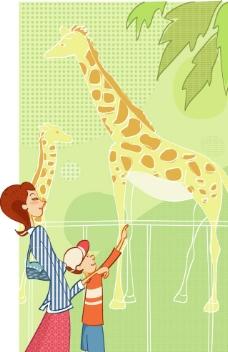 带孩子上动物园的居家女人图片