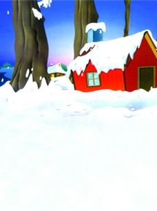 儿童摄影背景 雪地上的小屋图片
