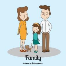 手绘的家庭