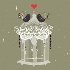 艺术唯美的鸟笼插画