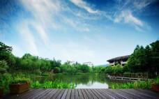 自然蓝天白云湖水素材背景图