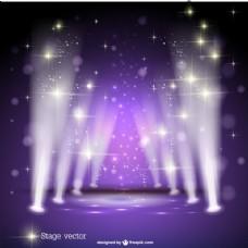 紫色的聚光灯的舞台