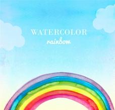 水彩彩虹背景矢量素材图片