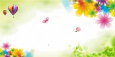 清新热气球春季海报背景设计