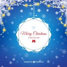蓝色背景的圣诞邮票