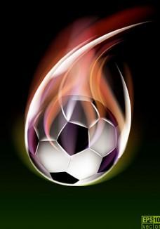 创意火焰足球背景矢量素材图片