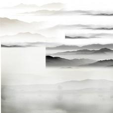 山水画元素PSD分层素材图片