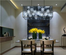 简约餐厅灰色墙壁装修室内效果图
