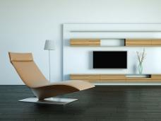 休闲躺椅和电视背景墙