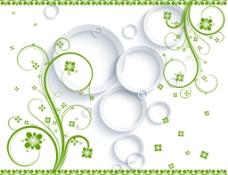 绿色清新藤蔓电视墙壁纸壁画