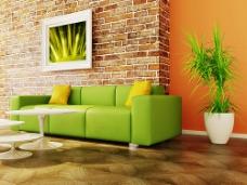 绿色沙发和背景墙