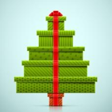 绿色礼盒堆叠 圣诞树图片