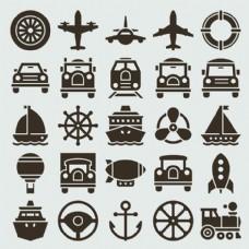 海陆空交通工具图标