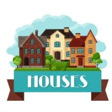 扁平化房屋与丝带矢量素材图片