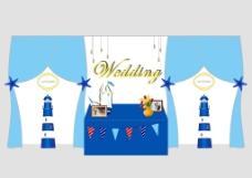 蓝色海洋风婚礼签到背景
