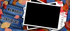 秋日牛仔回忆照片卡片模版