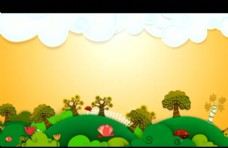卡通草原背景视频素材