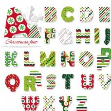 26个创意圣诞节字母矢量图图片