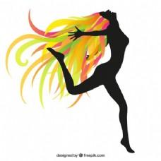 一个幸福的女人的轮廓,五颜六色的头发