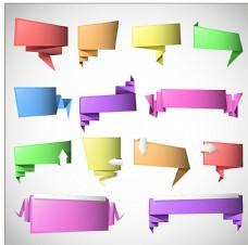 多彩折纸矢量标签图片