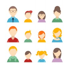 12款家庭人物头像设计矢量图