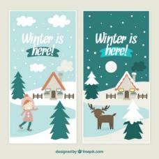 可爱的冬天是这里的横幅包