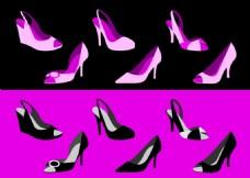 女士鞋子矢量图素材