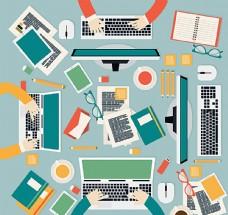 商务会议办公桌俯视图矢量素材图片
