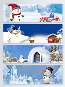 圣诞卡通雪人雪景蓝色清新电商banner背景