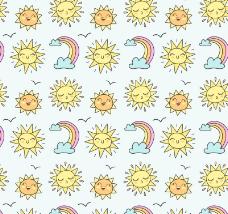 太阳和彩虹无缝背景矢量素材.z