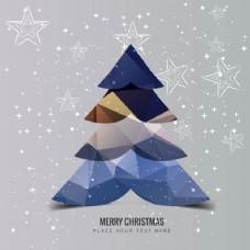 星星背景的多边形圣诞树