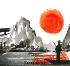 夕阳背景下的水彩画