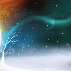 手绘冬季插画背景