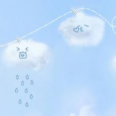 卡通清新白云背景