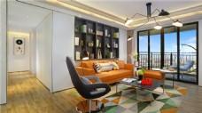 简约客厅彩色地毯装修室内效果图