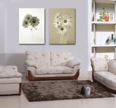 客厅菊花装饰画