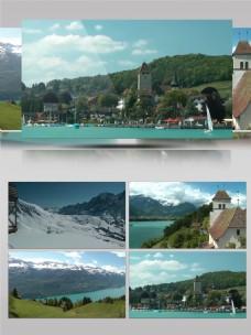 瑞士城市雪山景色实拍宣传片