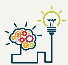 创意大脑与灯泡连线图片