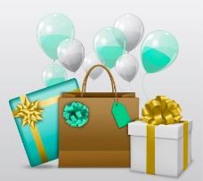 彩色气球和礼盒