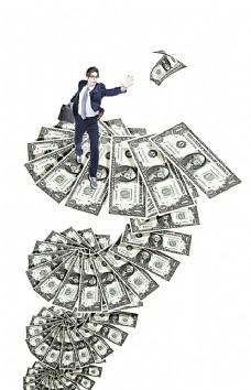 职业男性与美元钞票
