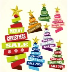 丝带 圣诞树折扣 标签图片