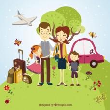 可爱的快乐的家庭