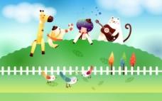幼儿园成长档案可爱春天背景素材高清卡通