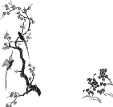 硅藻泥矢量图玄关背景图梅花图片