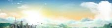 高楼 蓝天白云 日光 背景