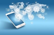 连接的手机蓝色商务图标图片