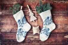 圣诞节袜子木板背景