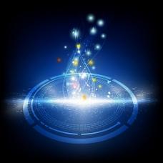 蓝色圆环和闪光背景