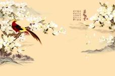 山水花鸟背景墙